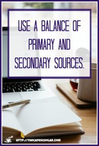 In academic writing, you need to use a balance of primary and secondary sources. | https://thecafescholar.com