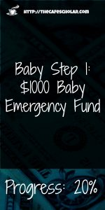 I'm 20% of the way to my baby emergency fund. How far are you? #babystep1 | https://thecafescholar.com