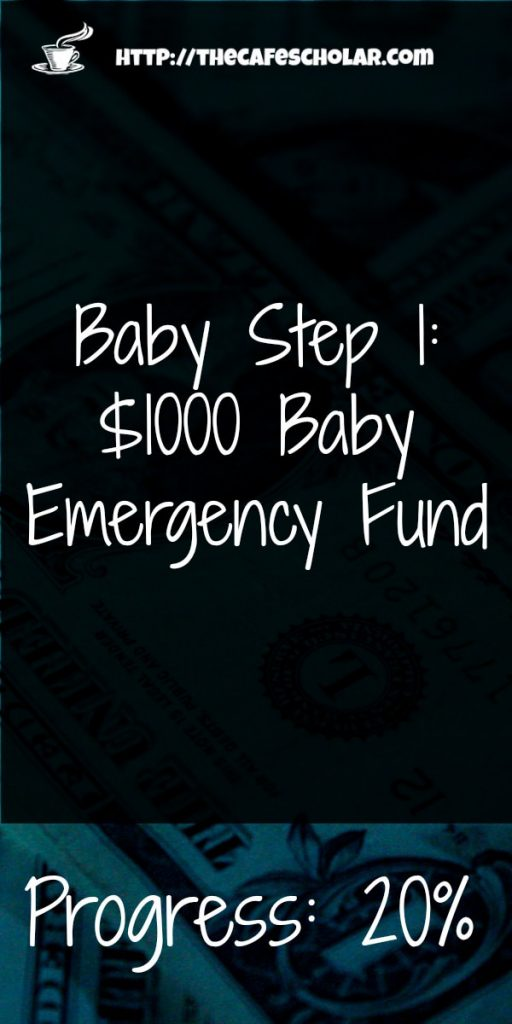 I'm 20% of the way to my baby emergency fund. How far are you? #babystep1 | http://thecafescholar.com