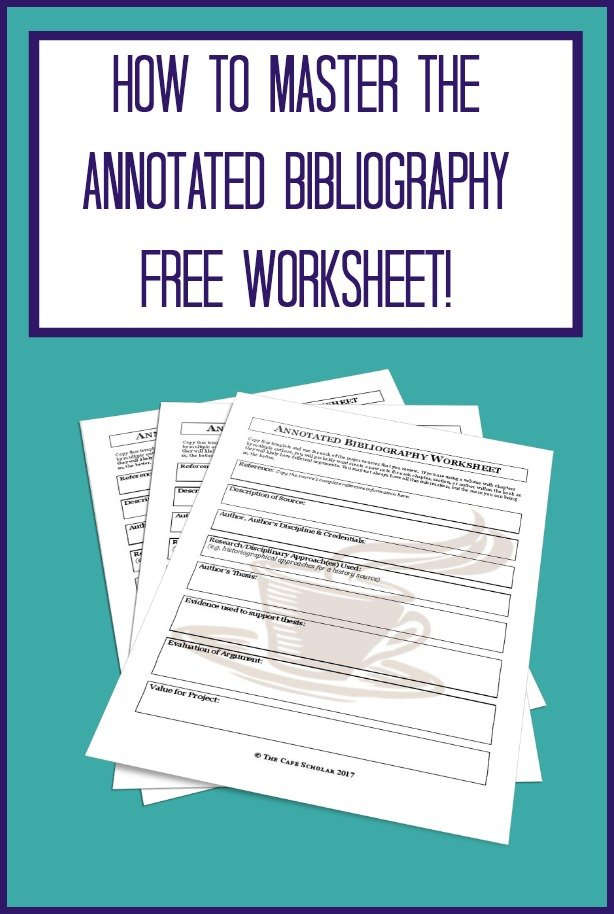 I use this free worksheet to pull together all the information I need for an outstanding annotated bibliography.  |  https://thecafescholar.com