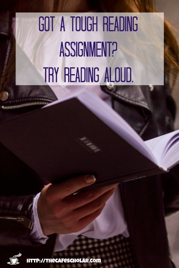 Reading aloud lets you slow down and focus, plus you are using multiple learning methods at once for double impact. | https://thecafescholar.com
