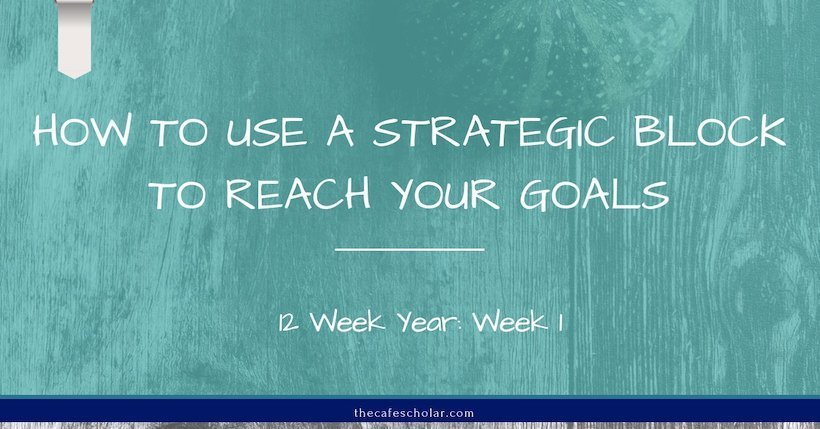 How to use a strategic block to meet your productivity goals. My journey self-publishing a book through the 12 Week Year week 1 #12weekyear #productivity - https://www.thecafescholar.com