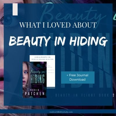 Beauty in Hiding by Robin Patchen cover, blue square, woman's face in dark.