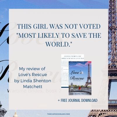 Love's Rescue by Linda Shenton Matchett, book cover, blue with eiffel tower in background.