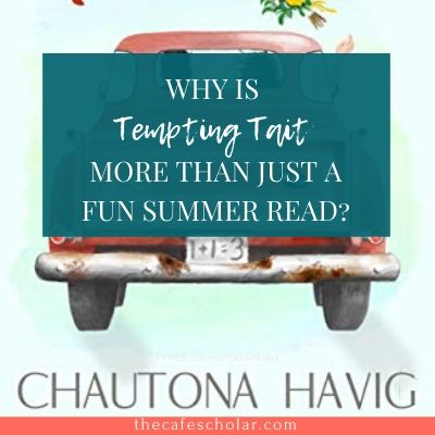 Pink classic car on blue background, cover for Tempting Tait by Chautona Havig. More than just a fun summer read!